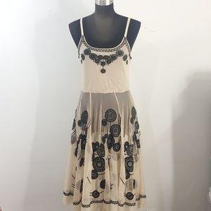 Biya Johnny Was Nude Mesh Embroidered Dress